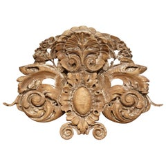 18th Century French Carved Oak Painted Wall Sculpture with Center Shell Motif