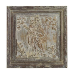 18th Century French Carved Oak Panel Representing Joseph with Baby Jesus