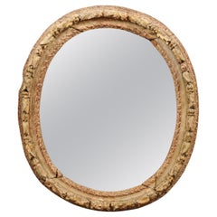 18th Century French Carved Oval Frame in Painted Finish with New Mirror