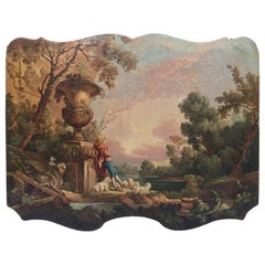 18th Century French Carved Pastoral Scene Oil on Canvas Trumeau Painting