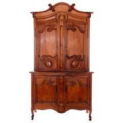 18th Century French Carved Pine Hutch