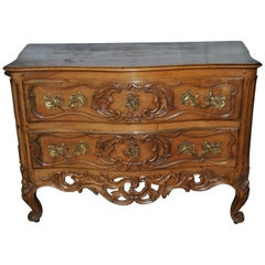 18th Century French Carved Walnut Chest of Drawers