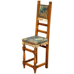 18th Century French Carved Walnut Child Chair with Aubusson Tapestry
