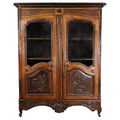 18th Century French Carved Walnut Glass Door Cupboard