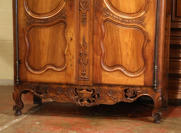 Iron 18th Century French Carved Walnut Wedding Armoire from Provence For Sale