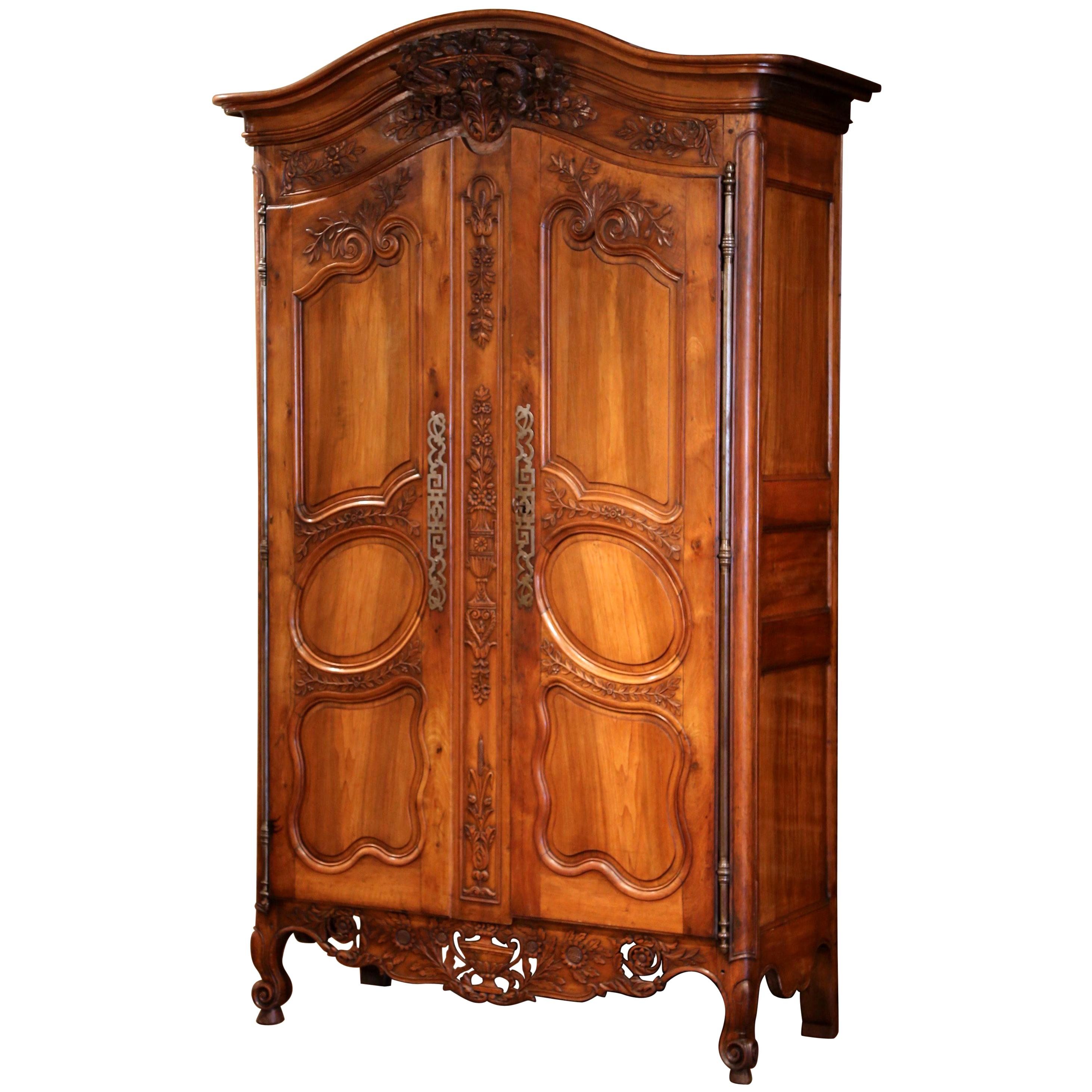 18th Century French Carved Walnut Wedding Armoire from Provence