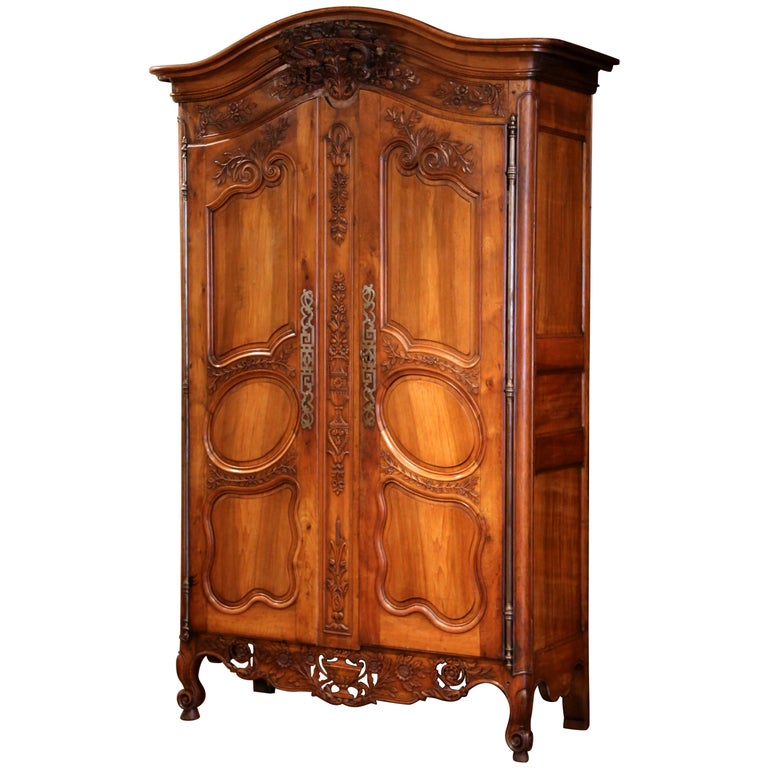 18th Century French Carved Walnut Wedding Armoire from Provence For Sale