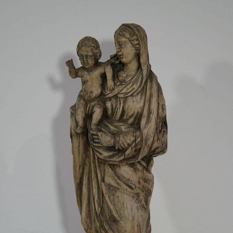 18th Century French Carved Wooden Madonna with Child For Sale 6