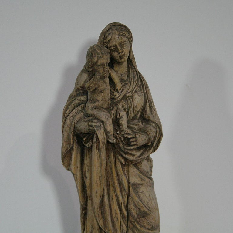 18th Century French Carved Wooden Madonna with Child For Sale 7