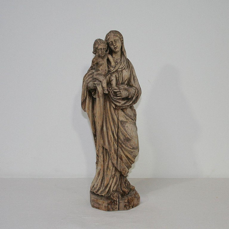 Baroque 18th Century French Carved Wooden Madonna with Child For Sale