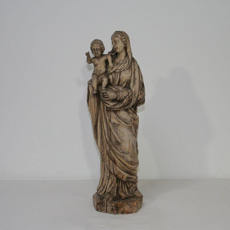 Hand-Carved 18th Century French Carved Wooden Madonna with Child For Sale