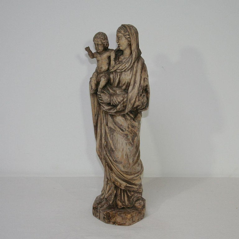18th Century and Earlier 18th Century French Carved Wooden Madonna with Child For Sale