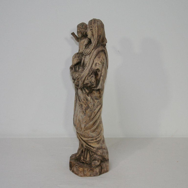 18th Century French Carved Wooden Madonna with Child For Sale 1