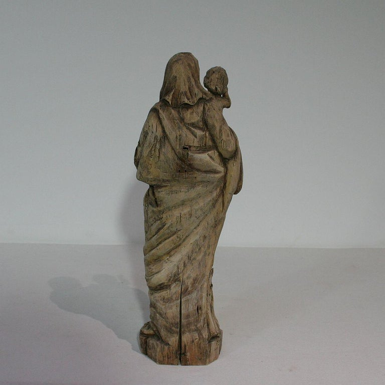 18th Century French Carved Wooden Madonna with Child For Sale 2
