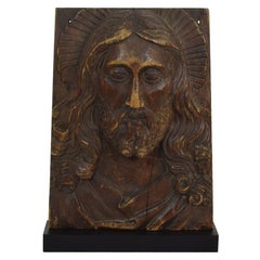 18th Century French Carved Wooden Panel Representing Head of Christ