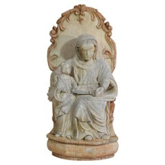 18th Century French Carved Wooden Statue of the Virgin Mary and Saint Anne