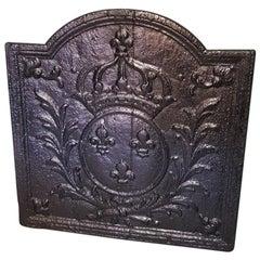 18th Century French Cast Iron Fireback Bourbon Louis XIV