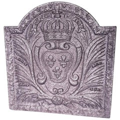 18th Century French Cast Iron Fireback with Bourbon Crest