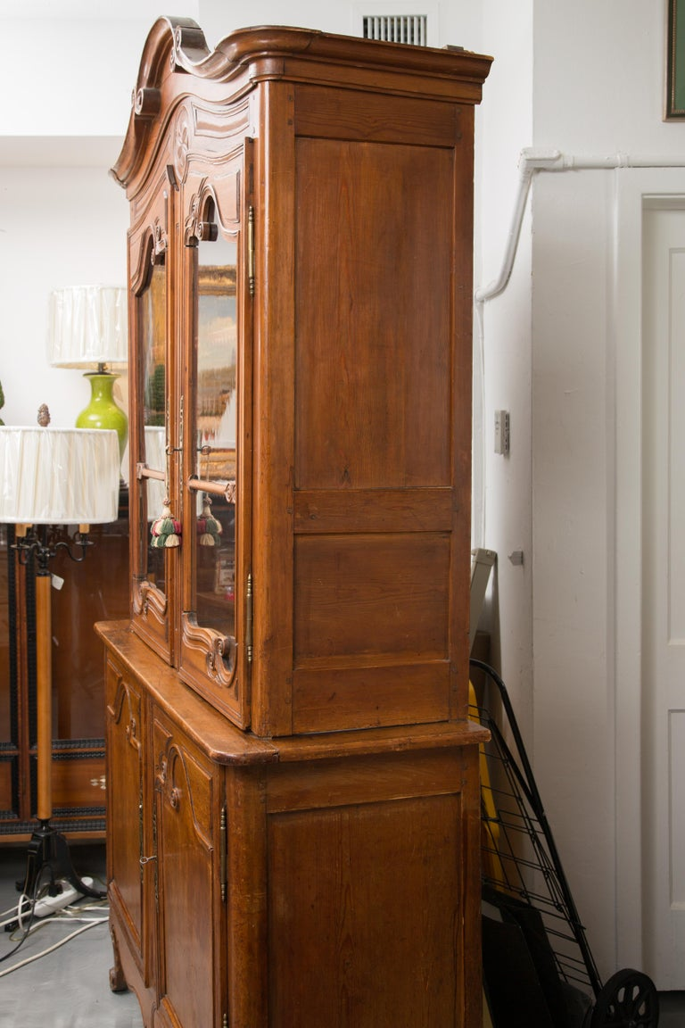 18th Century French Cherry Buffet a Deux Corps In Good Condition For Sale In WEST PALM BEACH, FL