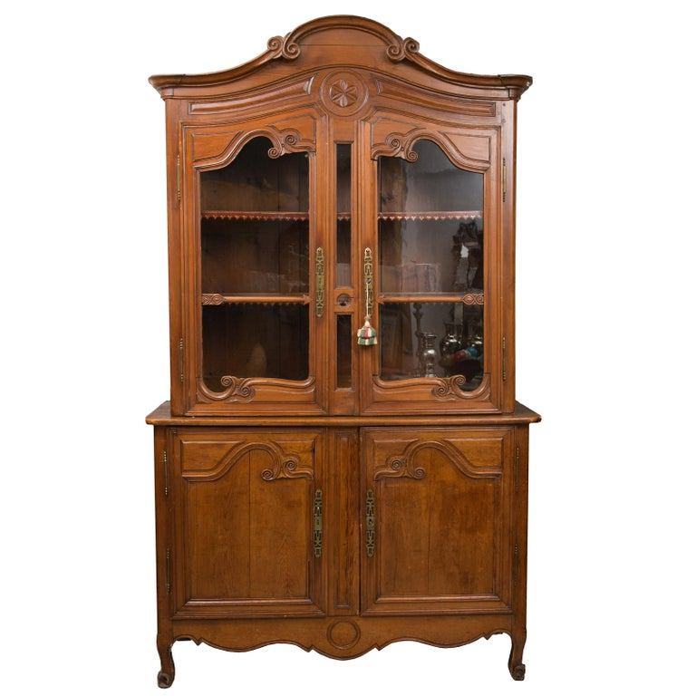18th Century French Cherry Buffet a Deux Corps For Sale