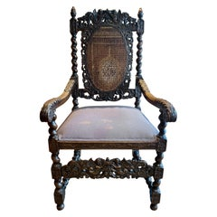 18th Century French Commerce Antique Carved Wood Chair