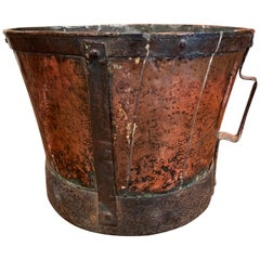 18th Century French Copper and Iron Grain Measure Bucket with Side Handles