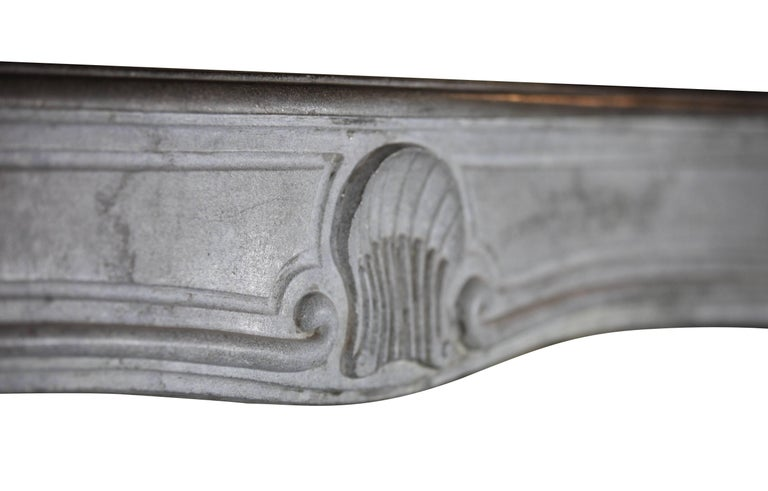 18th Century French Country Bleu Stone Regency Fireplace Surround For Sale 4