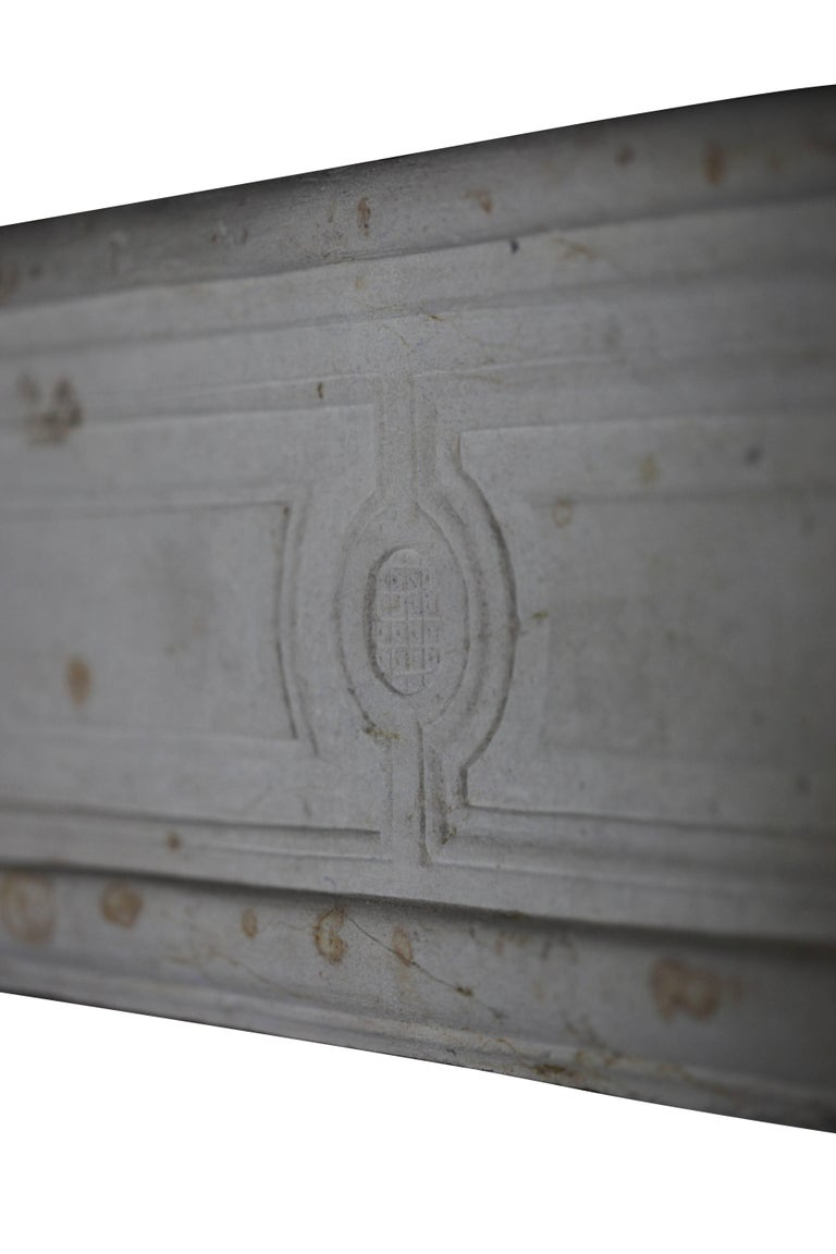 18th Century and Earlier 18th Century French Country Regency Period Limestone Fireplace Surround For Sale
