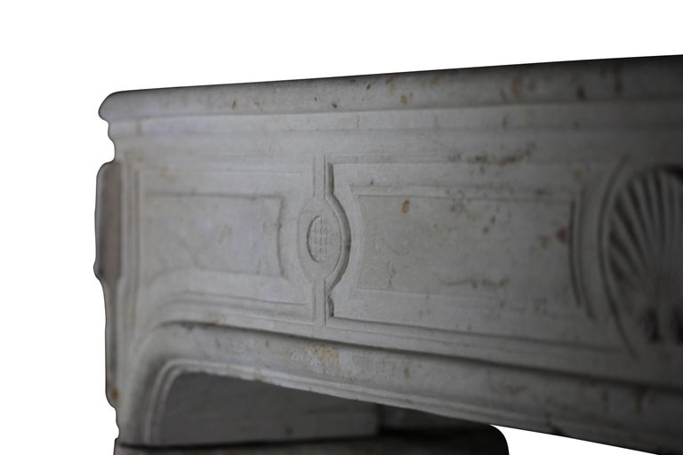 18th Century French Country Regency Period Limestone Fireplace Surround For Sale 2