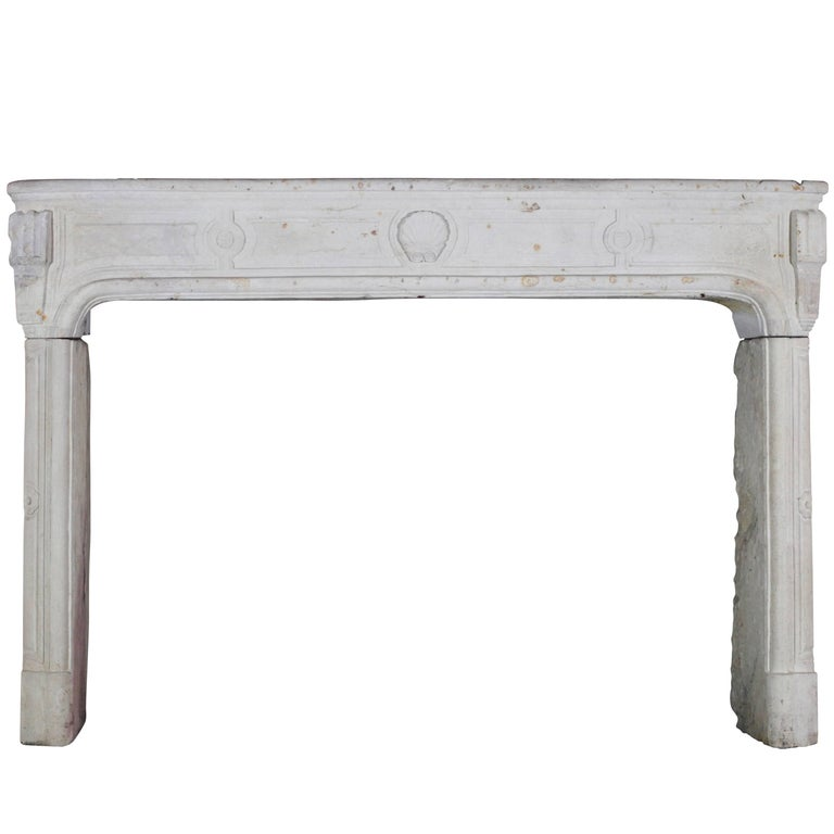18th Century French Country Regency Period Limestone Fireplace Surround For Sale