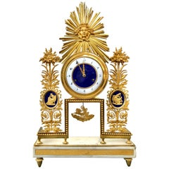 18th Century French Directoire Ormolu and Enamel Clock by Deverberie