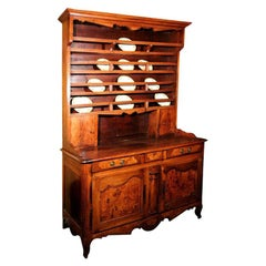 18th Century French Directoire Walnut Vaisselier or Cupboard