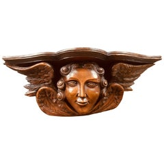 18th Century French Exceptional Piece of Art, Angel's Head with Wings