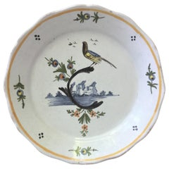 18th Century French Faience Bird Nevers Plate