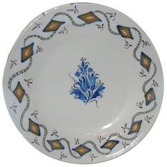 18th Century French Faience Round Porcelain Charger, Marked J.V.A.