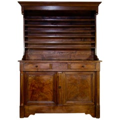 18th Century French Farmhouse Walnut Kitchen Dresser, Empire Style Cupboard