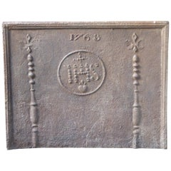 18th Century French Fireback Pillars with Medieval IHS Monogram