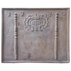 18th Century French Fireback 'Pillars with Medieval IHS Monogram