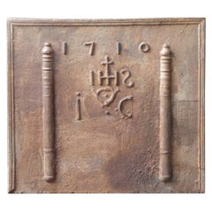 18th Century French Fireback 'Pillars with Medieval IHS Monogram'