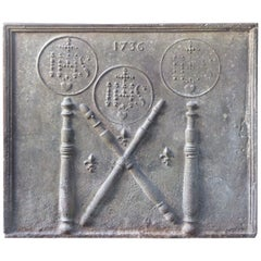 18th Century French Fireback Pillars with Medieval IHS Monograms