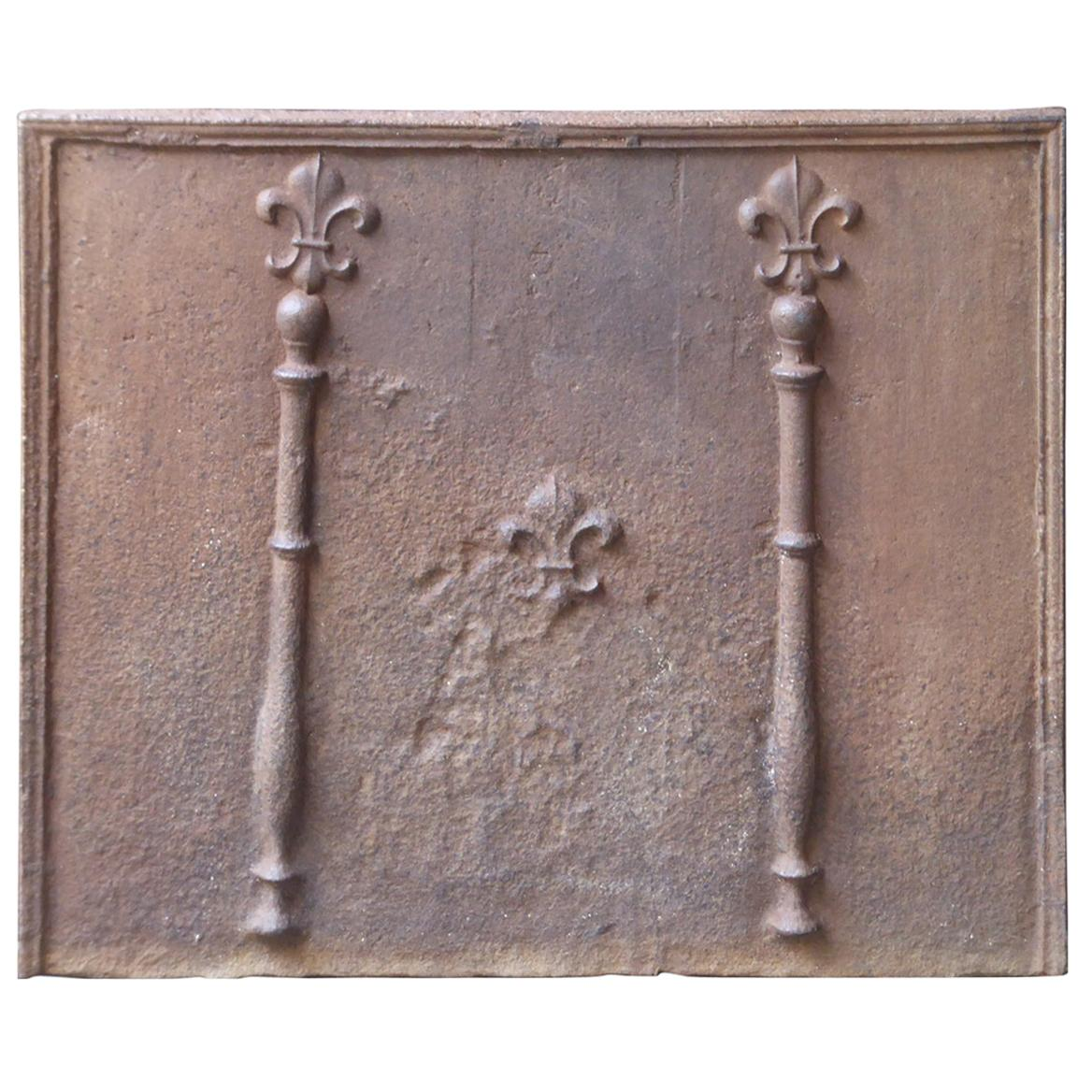 18th Century French Fireback with Pillars and Fleur de Lys