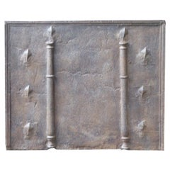 18th Century French Fireback with Pillars and Fleurs de Lys