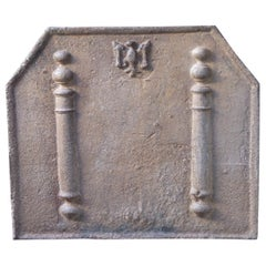 18th Century French Fireback with Pillars of Hercules and Decoration