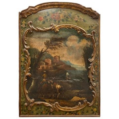 18th Century French Fireplace Screen with Oil painting