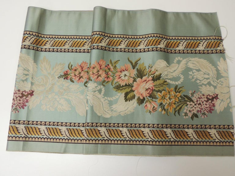 Regency 18th Century French Floral Green and Pink Silk Brocade Textile For Sale