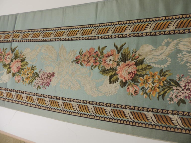 Hand-Crafted 18th Century French Floral Green and Pink Silk Brocade Textile For Sale