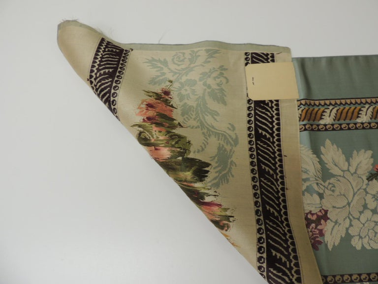 18th Century and Earlier 18th Century French Floral Green and Pink Silk Brocade Textile For Sale