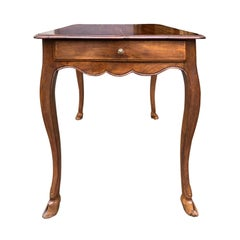 18th Century French Fruitwood Side Table, Original Hoof Feet
