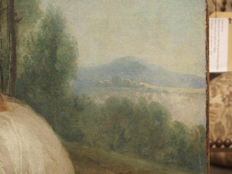 18th Century French Genre Scene Overdoor Painting, circa 1770 For Sale 5