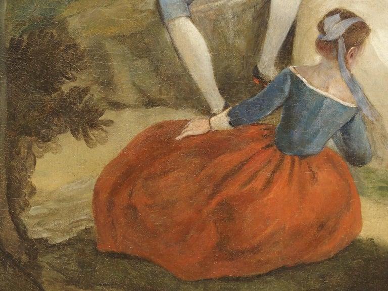18th Century French Genre Scene Overdoor Painting, circa 1770 For Sale 6